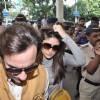 Bollywood actors Saif Ali with wife Kareena Kapoor leave for delhi