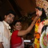 Gurmeet Choudhary with wife Debina at North Bombay Sarbojanin Durga Puja in Mumbai.