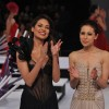 Esha Gupta with designer Mandira Wirk at walks the ramp at Blenders Pride Fashion Tour 2012