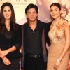 Shahrukh Khan, Katrina Kaif and Anushka Sharma at a press conference for the film Jab Tak Hai Jaan