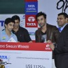 Bollywood actor Ranbir Kapoor with Former Indian Badminton player Prakash Padukone at the finale of Tata Open India International Challenge 2012 organized by Badminton Association of India (BAI) in CCI, Mumbai.
