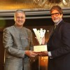 Chief Operating Officer Diageo plc Ivan Menezes honours bollywood actor Amitabh Bachchan as the 'John Walker & Sons Game Changer of the Century' at Hotel Taj Mahal Palace in Colaba, Mumbai.