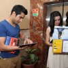 Mohit Sehgal & Sanaya Irani browsing the calendar at the celebration of India Forums 9th Anniversary
