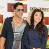 Bollywood actors Akshay Kumar and Kajal Aggarwal at the promotional event of the film Special 26 in Hyderabad on Feb 4.