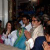 Bollywood actor Amitabh Bachchan with his family at Siddhivinayak temple on the occasion of Maghi Ganesh Festival in Mumbai on Feb. 13 night. (Photo: Sandeep Mahankal/IANS)