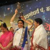 Usha Mangeshkar, Asha Bhonsle and Lata Mangeshkar at Pandit Dinanath Mangeshkar Awards ceremony