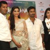 Sonam Kapoor, Dhanush and Krishika Lulla at the press meet for the film 'Raanjhanaa' in New Delhi