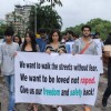 Karanveer Bohra, Teejay Sidhu and Kushaal Punjabi at the rally to protest against the rape case