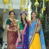 Hema Malini with her daughters at the Mehendi Function