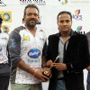 Apporva Lakhia gets an award at CCL Dubai match