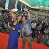 Nargis and Varun get a selfie of themselves with the crowd