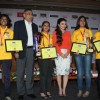 Soha Ali Khan with the winners of the Classmate Spell Bee 2014