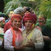 Shabana Azmi and Javed Akhtar during Holi Celebrations