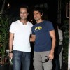 Farhan Akhtar and Saleem Merchant at the launch of chef Vicky Ratnani's book 'Vicky Goes Veg'