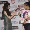 Diana Penty signs the Cover at the launch of Femina Salon & Spa magazine