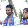 Sandip Soparrkar supporting BSP North-West candidate Pushpa Milind Bhole