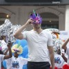 Imran Khan wears a Rio 2 mask