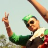 Rakhi Sawant during the Maha Rally of Rashtriya Aam Party