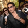 Sachin Tendulkar votes at a polling station in Mumbai