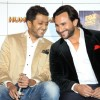 Riteish Deshmukh and Saif Ali Khan share a joke at the Press conference of Humshakals
