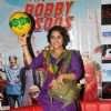 Vidya Balan cheers for the foot ball team.