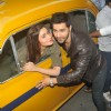 Varun Dhawan and Alia Bhatt take a ride in a cab at Kolkata