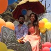Jay Bhanushali and Surveen Chawla enjoying chariot ride in Jaipur