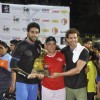 Hrithik, Aamir and Abhishek pose with trophy at football charity event