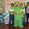 Sachin Tendulkar and Eugene Kaspersky pose with the Mascot