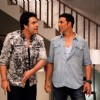 Akshay Kumar and Krushna Abhishek perform an act at the Promotion of It's Entertainment