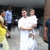 Aamir Khan spotted holding his son Azad outside his home