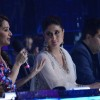 Kareena Kapoor looks over as Madhuri Dixit comments about a perfromance on   on Jhalak Dikhla Jaa