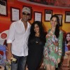 Rj Malishka poses with Akshay and Tammanah at the Promotion of Entertainment on Red FM