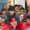 Bhavya Gandhi plays a game of Air Soccer at the Launch of the 10th Planet-Happy Planet with Smilo