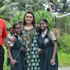Rani Mukherjee poses with school girls at the Promotion of Mardaani at a Local School