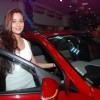 Sara Khan poses alongside the new Hyundai i20 Elite