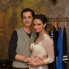Roshni Chopra poses with her husband at the Launch of her Fashion Label
