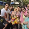 Ameesha Patel poses with the idol of Lord Ganesha at the Visarjan