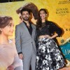 Sonam Kapoor and Fawad Khan pose for the media at the Music Launch of Khoobsurat