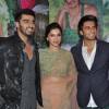 Arjun Kapoor, Deepika Padukone and Ranveer Singh pose for the media at Success Bash of Finding Fanny