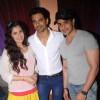 Anuj Sachdeva, Angad Hasija and Smriti Kalra pose for the media on the set of Itti Si Khushi