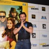 Saif Ali Khan greets the audience at the Trailer Launch of Happy Ending
