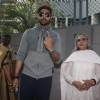 Abhishek Bachchan and Jaya Bachchan snapped outside their polling booth