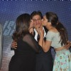 Farah and Deepika kiss Shahrukh Khan at the Song Launch of Happy New Year