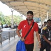 Indian Cricketer Harbhajan Singh poses for the media at Airport