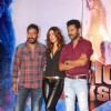 Ajay Devgn, Manasvi Mamgai and Prabhu Deva pose for the media at the Song Launch of Action Jackson