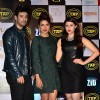 Priyanka Chopra poses with Mannara Chopra and Karanvir Sharma at the Music Launch of Zid