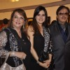 Simone Khan poses with Parents Sanjay Khan and Zarina Khan at Camel Colors Exhibition