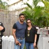 Suniel Shetty and Mana Shetty pose for the media at Shaan Khanna's Spicysangria Exhibition