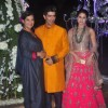 Shabana Azmi and Urmila Matondkar pose with Manish Malhotra at the Sangeet Ceremony